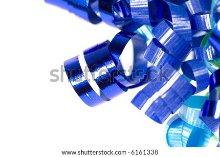 Blue curled ribbon isolated on white close-up