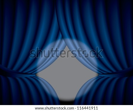 Blue curtain background with spotlight in the center, illustration - stock photo