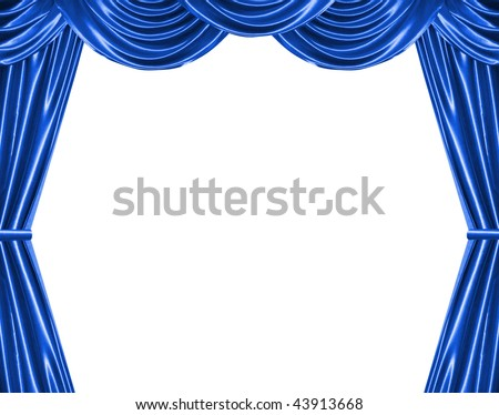 blue curtain isolated on white