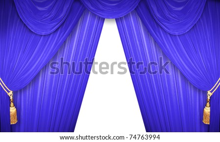 Blue curtain of a classical theater - stock photo
