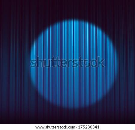 Blue curtain spotlight  - stock photo