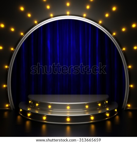 blue curtain stage with lights - stock photo
