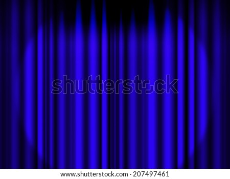 Blue curtain stage with spot light background - stock photo