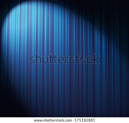Blue curtain with spotlight - stock photo