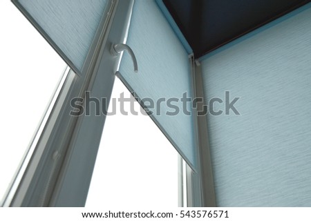 blue curtains blinds on window