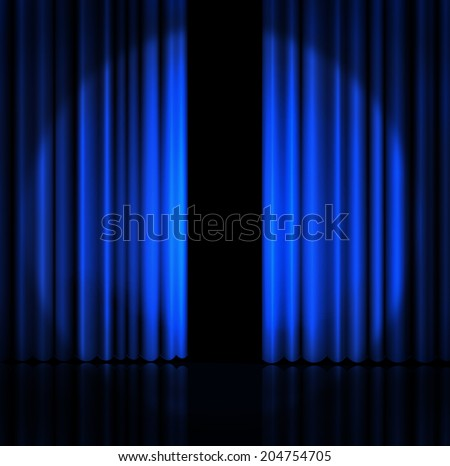 Blue curtains on theater or cinema stage