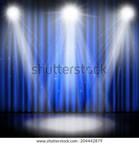 Blue curtains on theater with lights on red background