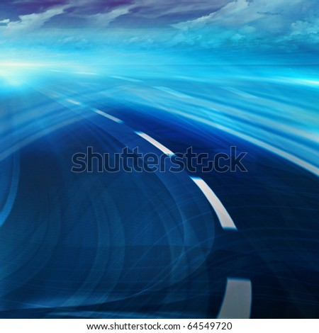 Blue curved abstract highway road with blurred fast motion and cloudy sky. Computer generated illustration  for background wallpaper - stock photo