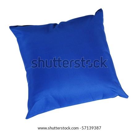 Blue cushion. Isolated - stock photo