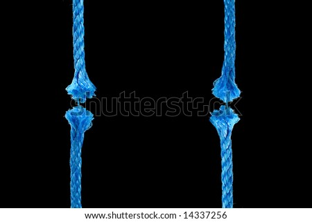 Blue cut rope. Conceptual image - stock photo