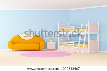 Blue Cute Cartoon Interior Bunk Bed Stock Illustration 1022318467