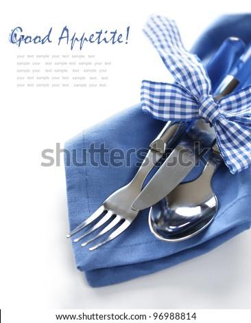 Blue Cutlery Set - stock photo