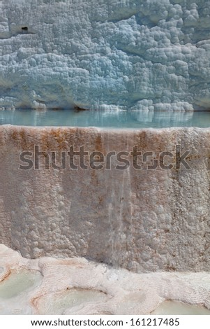 Blue cyan water travertine pools at ancient Hierapolis, now Pamukkale, Turkey - stock photo