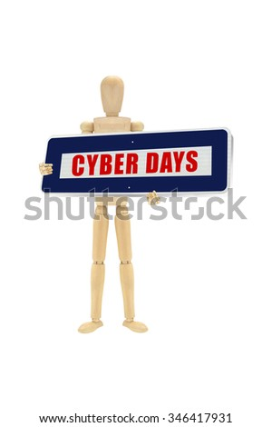 Blue Cyber Sale Days Sign Wood Mannequin isolated on white background