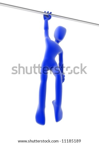 Blue 3d figure hanging, over white, isolated