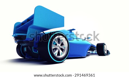 blue 3D formula car isolated on white perspective back view motorsport illustration design of my own - stock photo