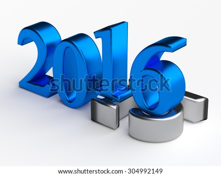 Blue 3d numbers of New Year 2016 over grey old 2015 - stock photo