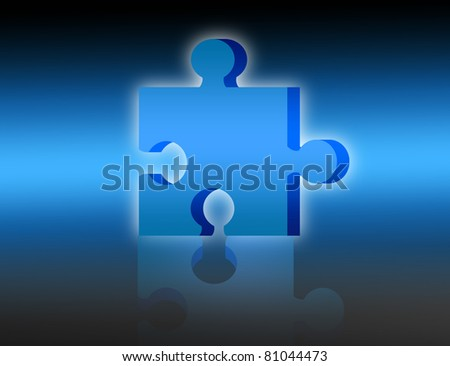 blue 3d puzzle with shadow over blue background - stock photo