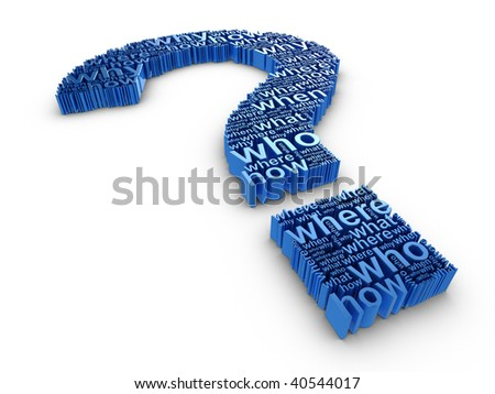 Blue 3d question mark made up of words on a white background - stock photo
