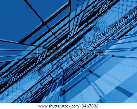 Blue 3d spatial structure in dynamic perspective - stock photo