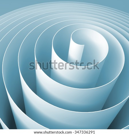 Blue 3d spiral, square abstract digital illustration, background pattern