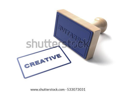 Blue 3d Stamp stamping that says text Creative and lacquered Wooden and rubber Stamper Isolated on White Background. 3d illustration