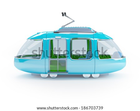 Blue 3d tram in cartoon childish style side view - stock photo