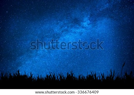Blue dark night sky with many stars above field of grass. Milkyway cosmos background - stock photo