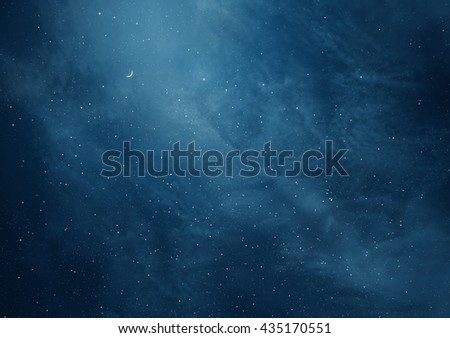 Blue dark night sky with many stars and moon - stock photo