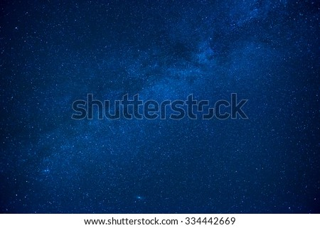 Blue dark night sky with many stars. Milkyway cosmos background - stock photo