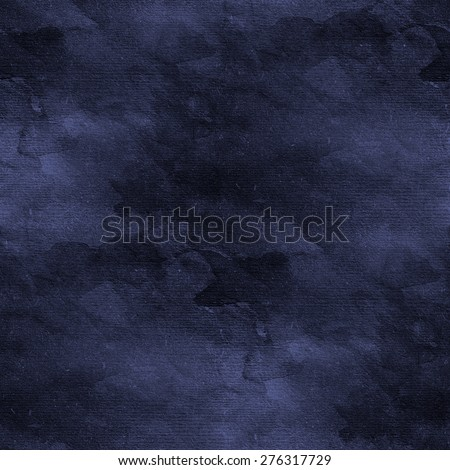 blue dark watercolor stained pattern, abstract seamless background - stock photo