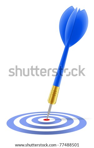 Blue dart hitting the target on white