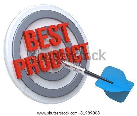 Blue dart on a target with text on it. The concept of best product. Computer generated 3D photo rendering. - stock photo