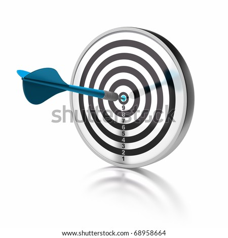 blue dart pointing the center o a target, the target is isolated over white background - stock photo