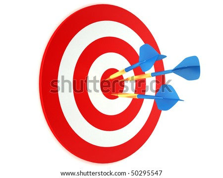 Blue darts in red and white target