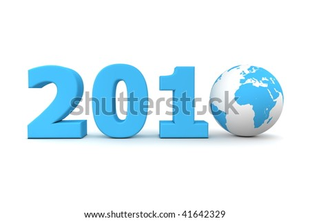 blue date 2010 with 3D globe replacing number 0 - stock photo