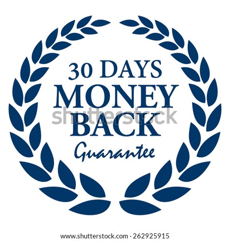 Blue 30 Days Money Back Guarantee Wheat Laurel Wreath, Badge, Label, Sticker, Sign or Icon Isolated on White Background - stock photo