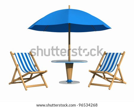 Blue deckchair and parasol with table isolated on white