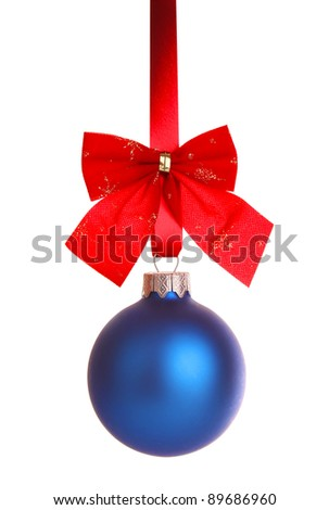 blue decoration with bow on ribbon isolated white background