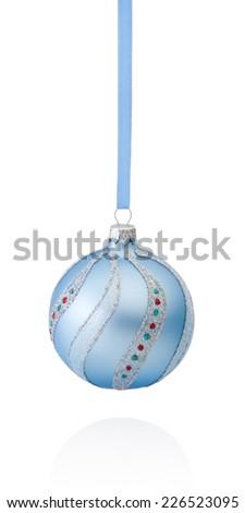Blue decorations Christmas ball hanging on ribbon Isolated on white background - stock photo
