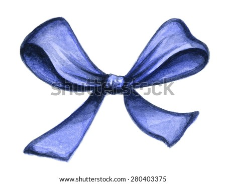 Blue decorative bow ribbon isolated on white background. Watercolor illustration - stock photo