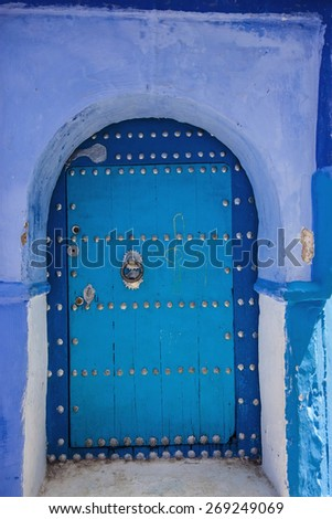 blue decorative door to Riyadh,Chefchaouen, Morocco - stock photo