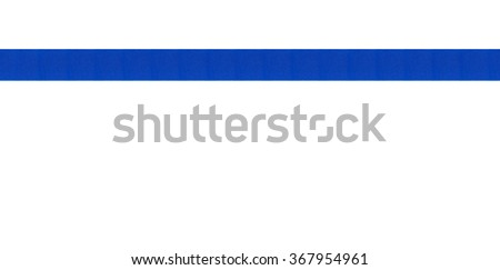 Blue, decorative ribbon banner with a classic style. Photographed in a horizontal line on a white border. An attractive design element for web pages and brochures. - stock photo
