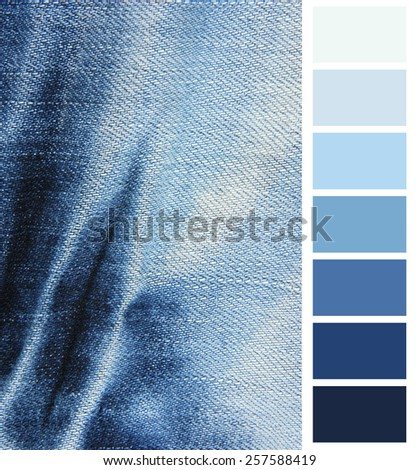 Blue denim jeans  color complimentary chart - stock photo