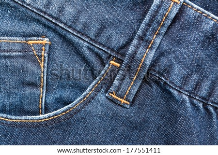 Blue Denim Jeans Pocket Close Up Details - stock photo