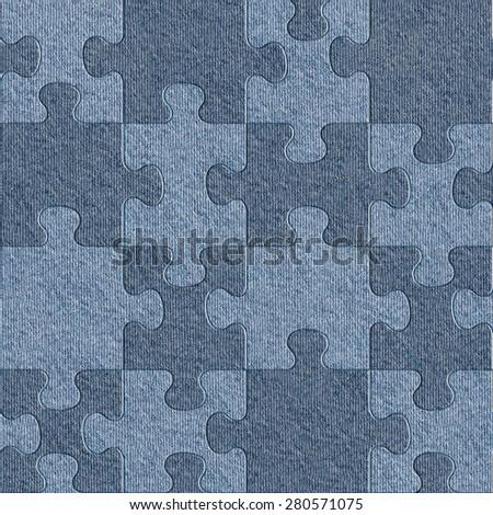 Blue denim jeans - seamless background - puzzle pattern - stock photo