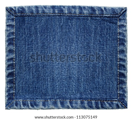 Blue denim jeans texture, isolated background. - stock photo