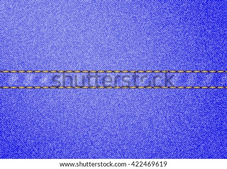 Blue denim texture with yellow stitch line. illustration - stock photo