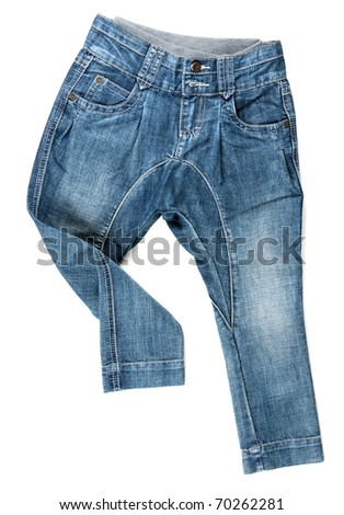 blue denim trousers isolated on white background