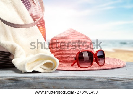 blue desk space and summer day  - stock photo